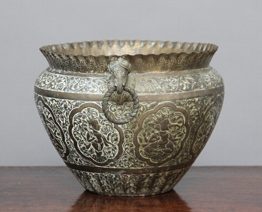Antique 19th Century engraved brass bowl