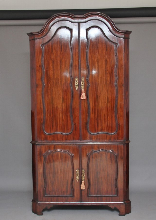 18th Century Dutch mahogany corner cupboard