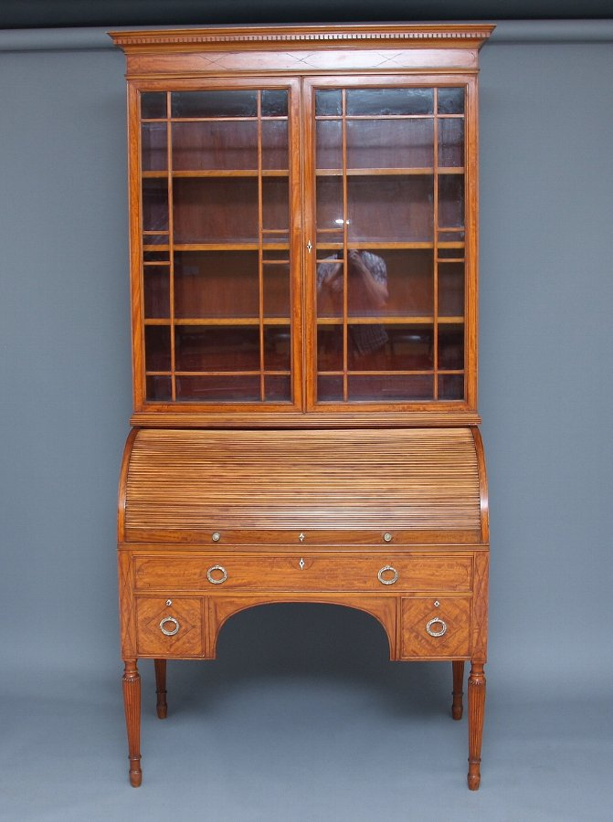 "19th Century satinwood cylinder bookcase by ""Edwards & Roberts"""