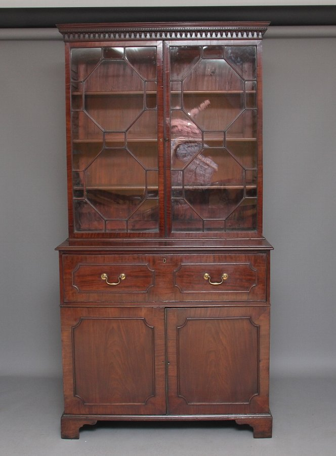 18th Century mahogany secretaire bookcase