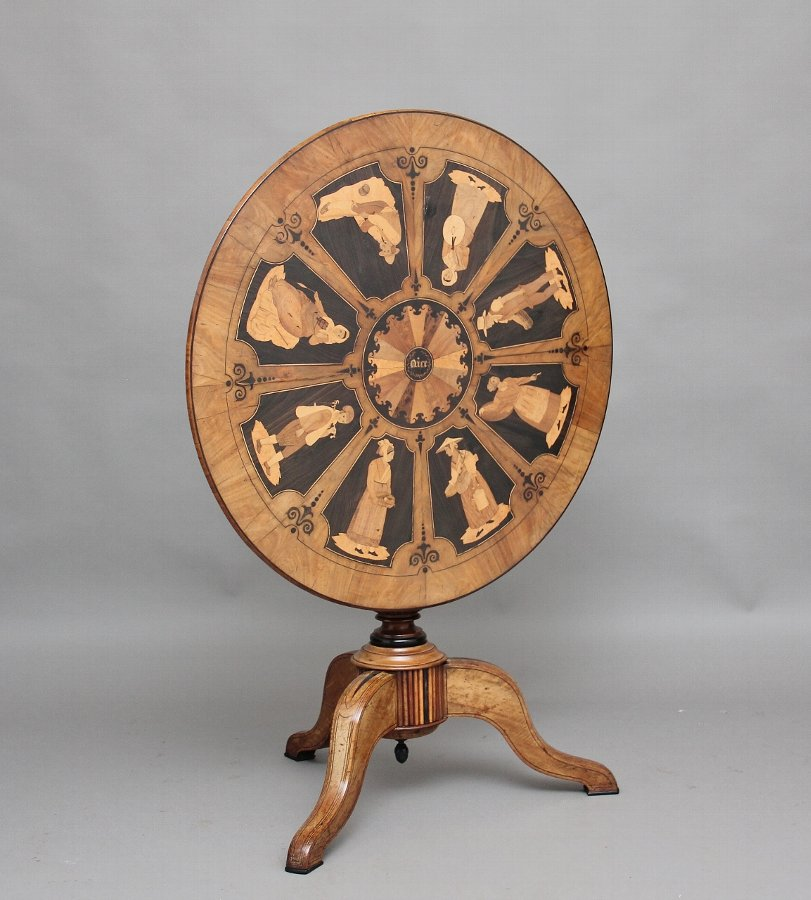 19th Century Sorrento marquetry tripod table