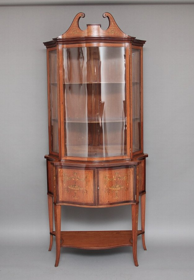 19th Century satinwood inlaid display cabinet