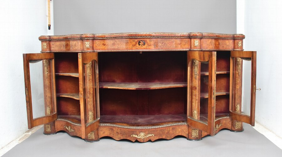 Antique 19th Century walnut and floral marquetry credenza
