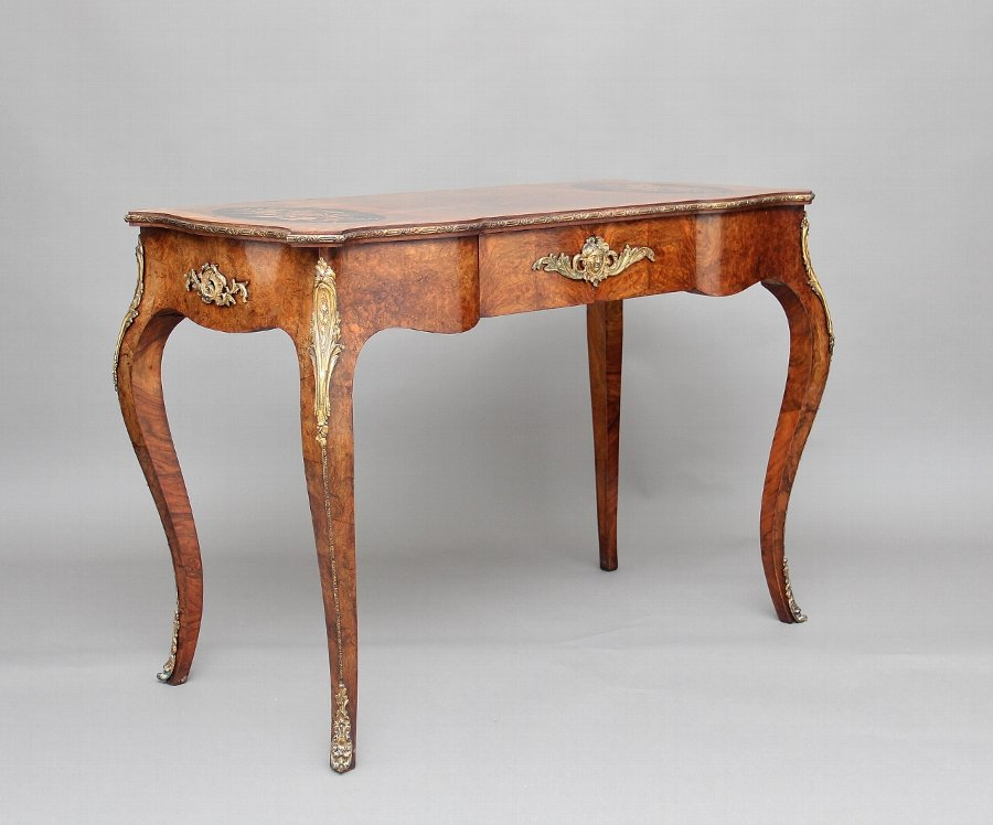 19th Century walnut and inlaid writing table