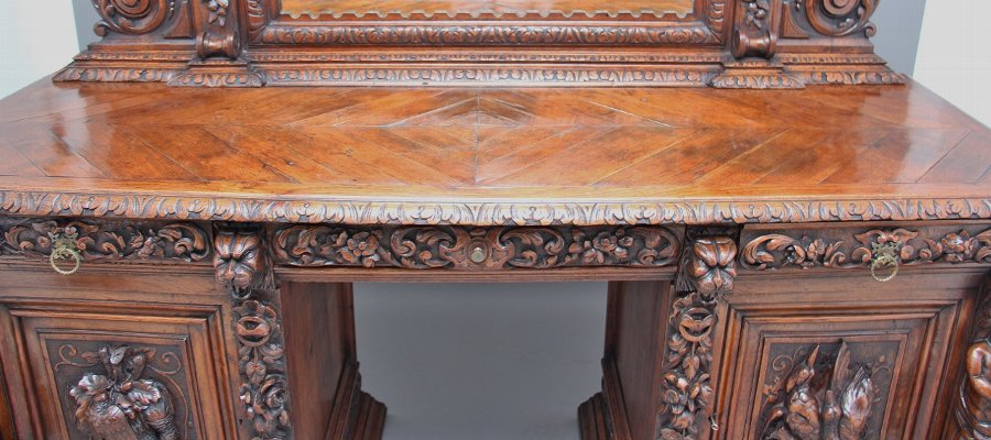 Antique 19th Century carved oak pedestal sideboard