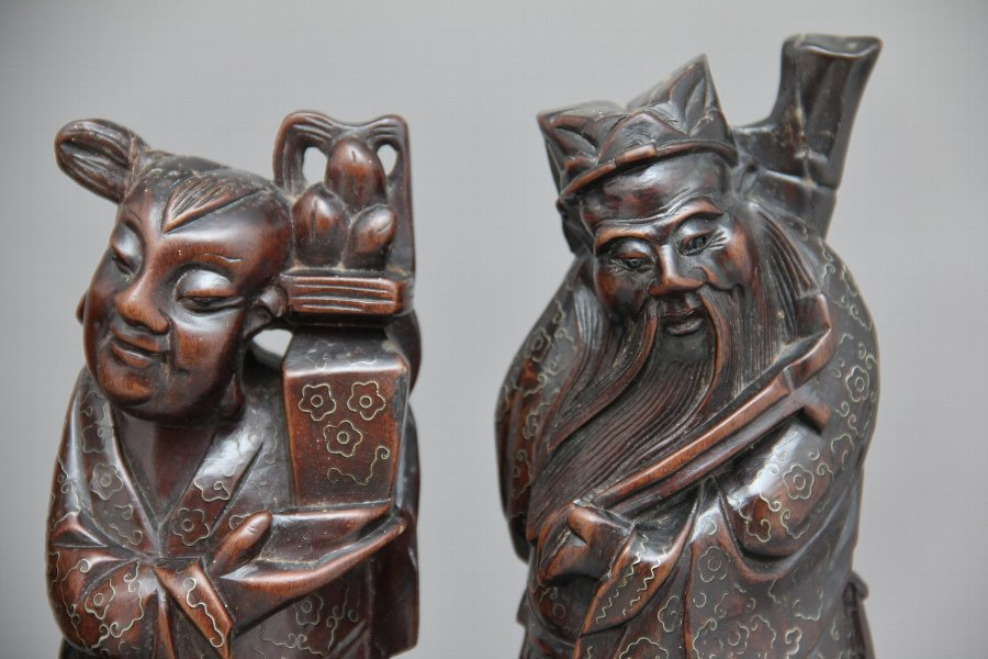 Antique A set of four 19th Century root carvings
