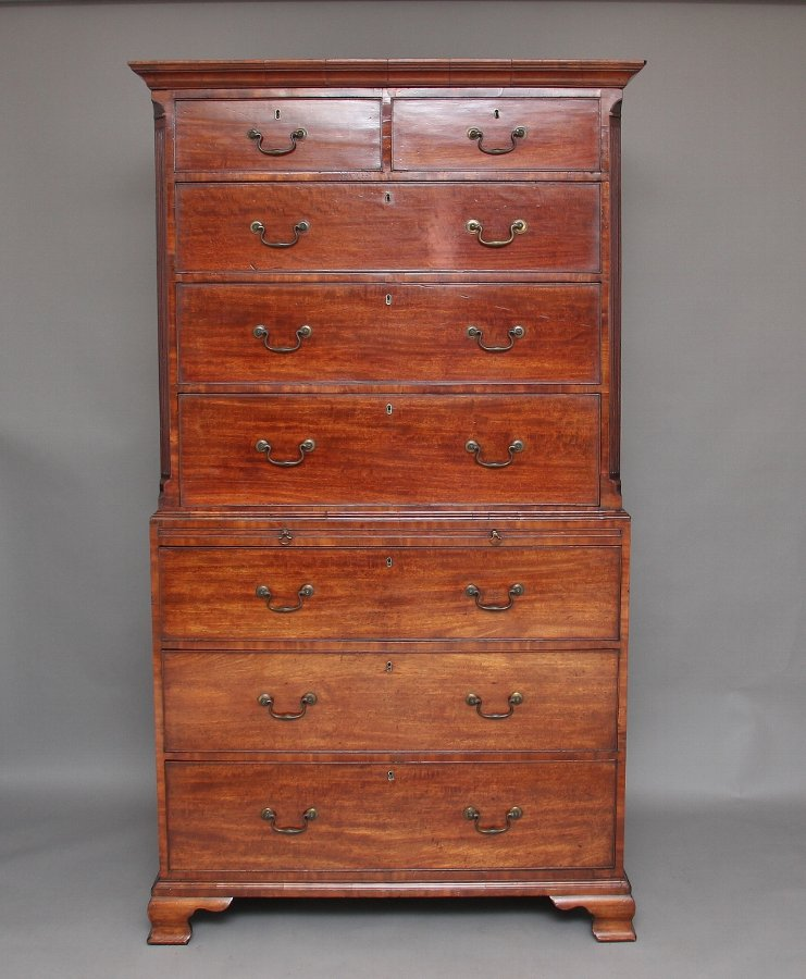 18th Century mahogany chest on chest / tallboy