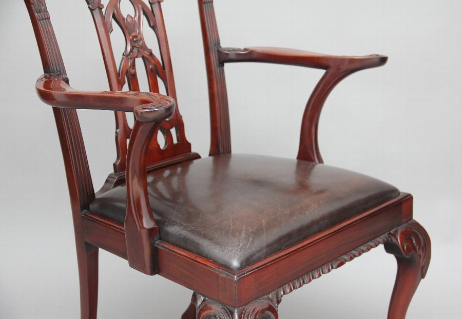Antique 19th Century Chippendale style armchair
