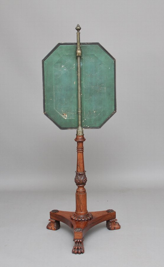 Antique 19th Century rosewood fire screen
