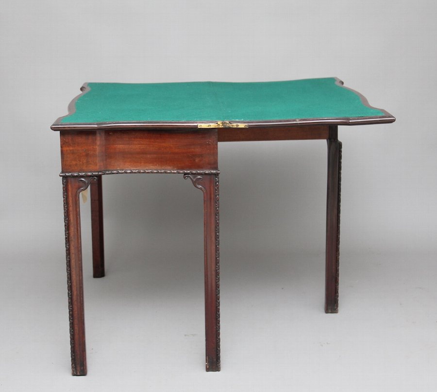 Antique 18th Century mahogany serpentine card table
