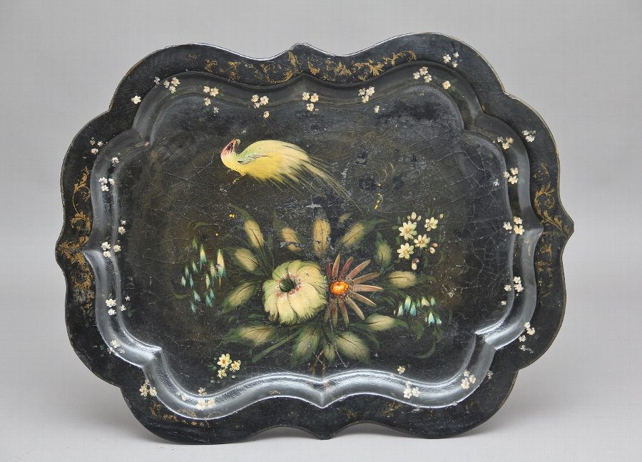 Antique 19th Century papier-mache tray on later stand