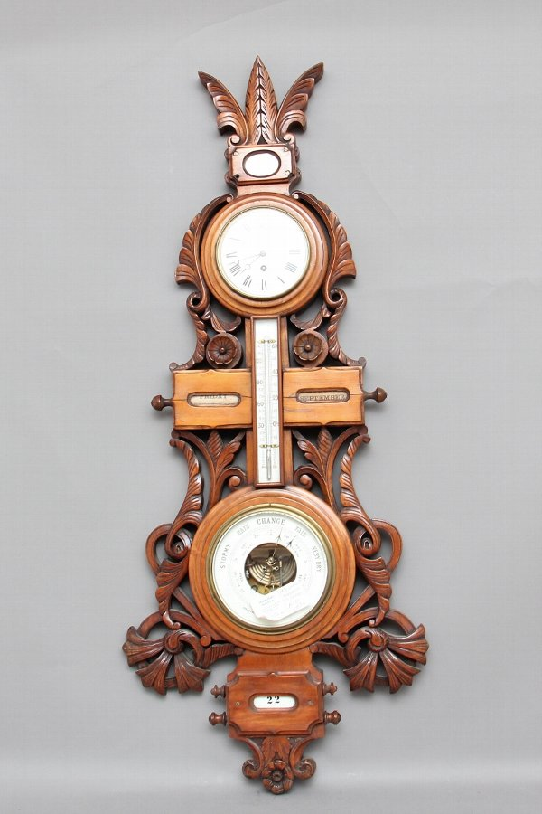 19th Century American carved walnut barometer
