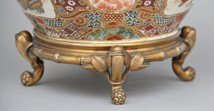 Antique 19th Century Japanese satsuma and ormolu mounted bowl