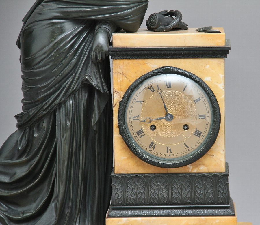 Antique Early 19th Century French bronze and marble mantel clock