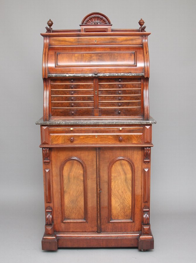 19th Century burr walnut dentist cabinet