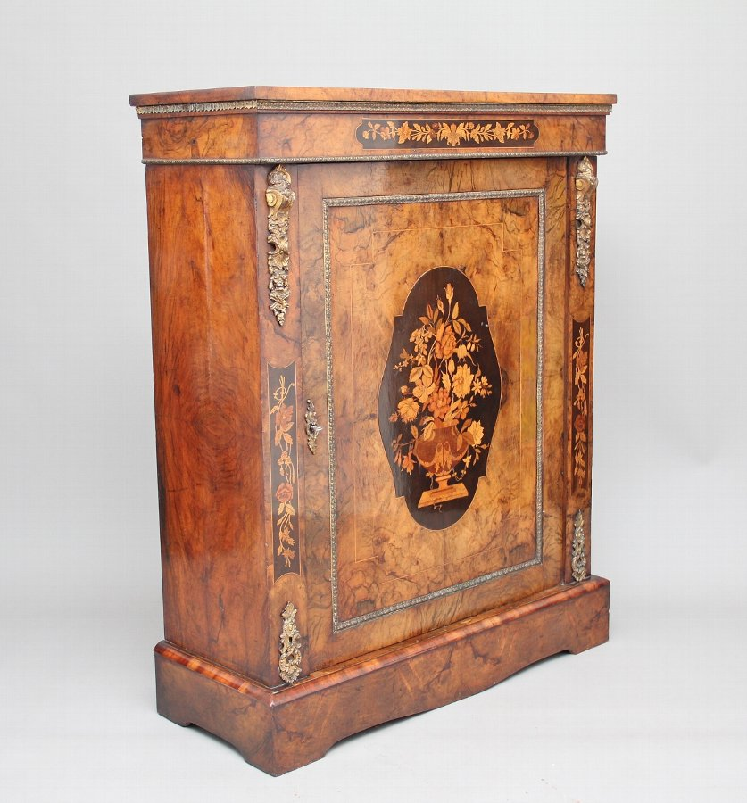 19th Century burr walnut pier cabinet
