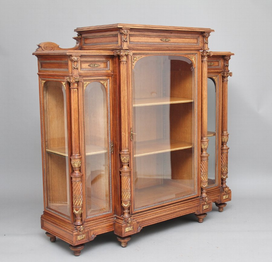 19th Century French walnut display cabinet