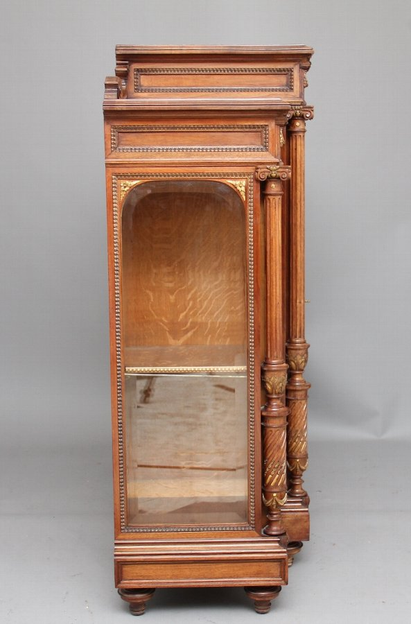 Antique 19th Century French walnut display cabinet