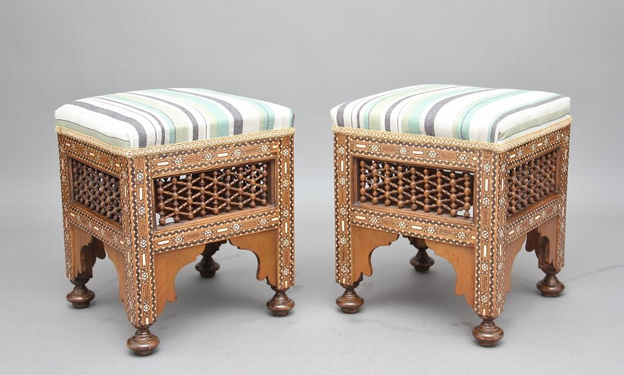 Pair of early 20th Century inlaid stools