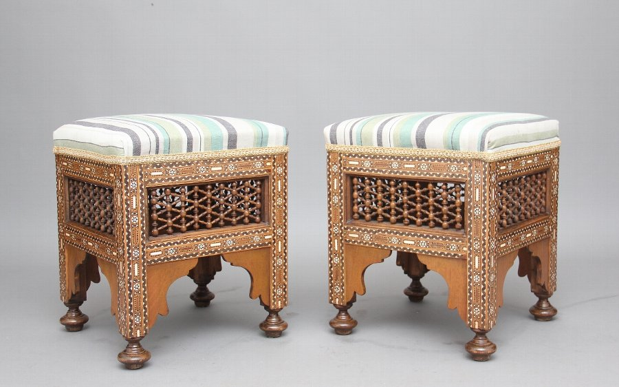 Antique Pair of early 20th Century inlaid stools