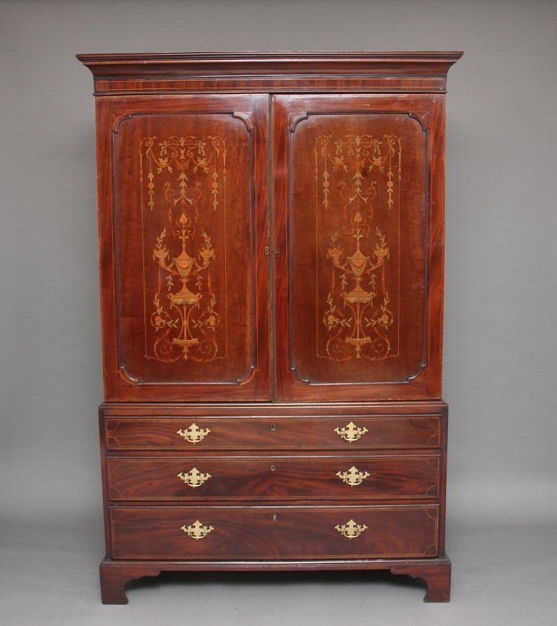 Early 19th Century mahogany and inlaid press cupboard