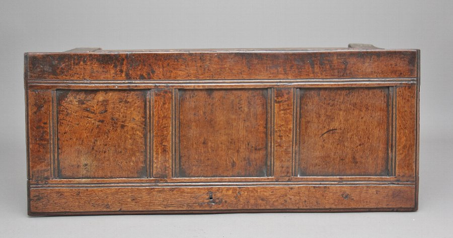Antique 17th Century carved oak coffer