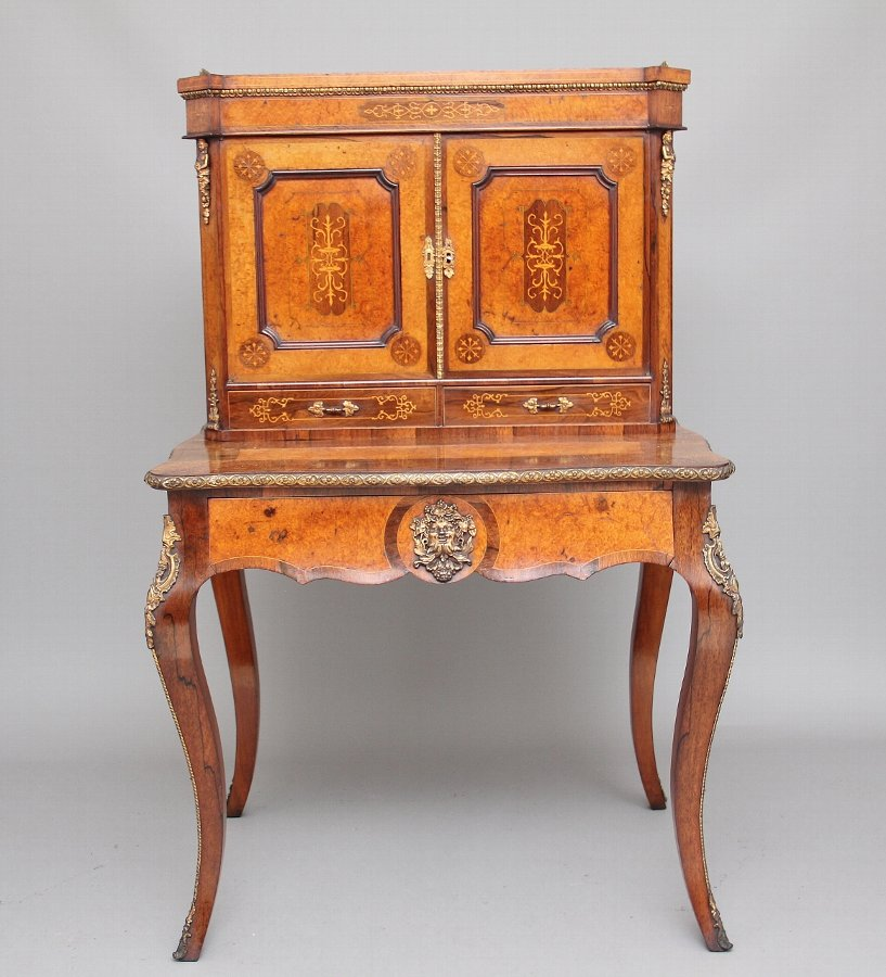 19th Century rosewood and amboyna bonheur du jour