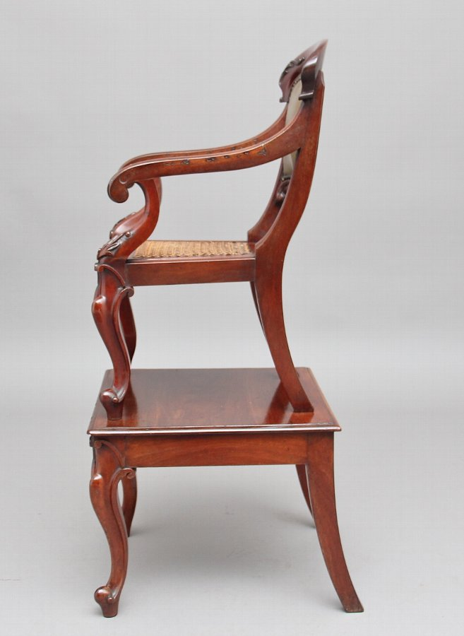 Antique 19th Century mahogany child's chair on stand