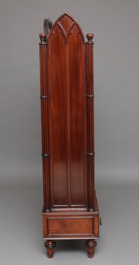 Antique 19th Century mahogany open bookcase in the Gothic style