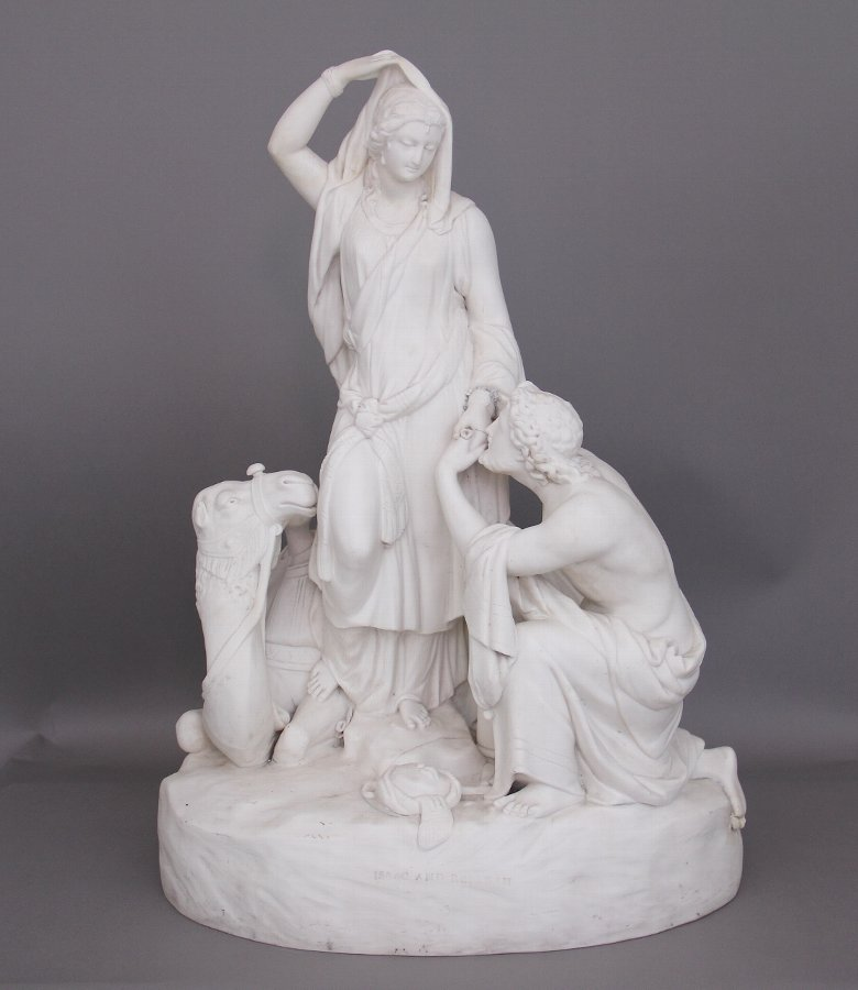 19th Century parian figure group of Isaac and Rebekah