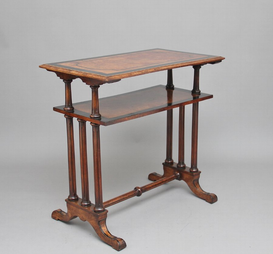19th Century burr walnut two tier occasional table