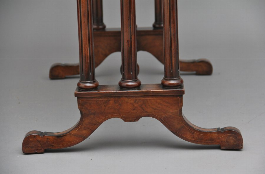 Antique 19th Century burr walnut two tier occasional table