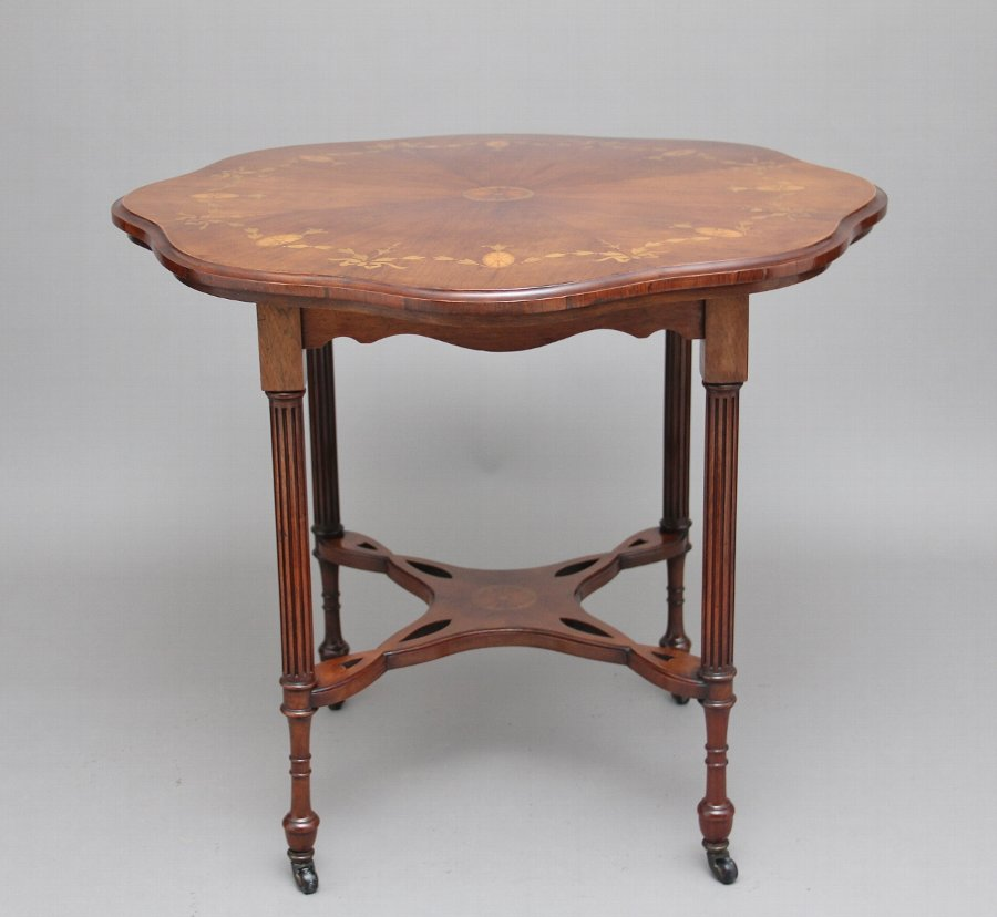 19th Century rosewood and marquetry centre table