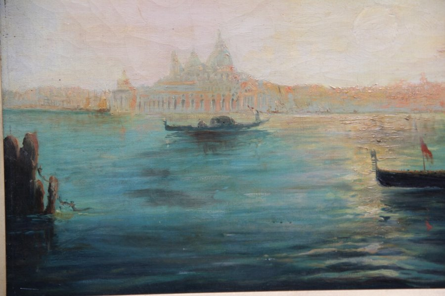 Antique Early 20th Century oil painting of the Venetian lagoon