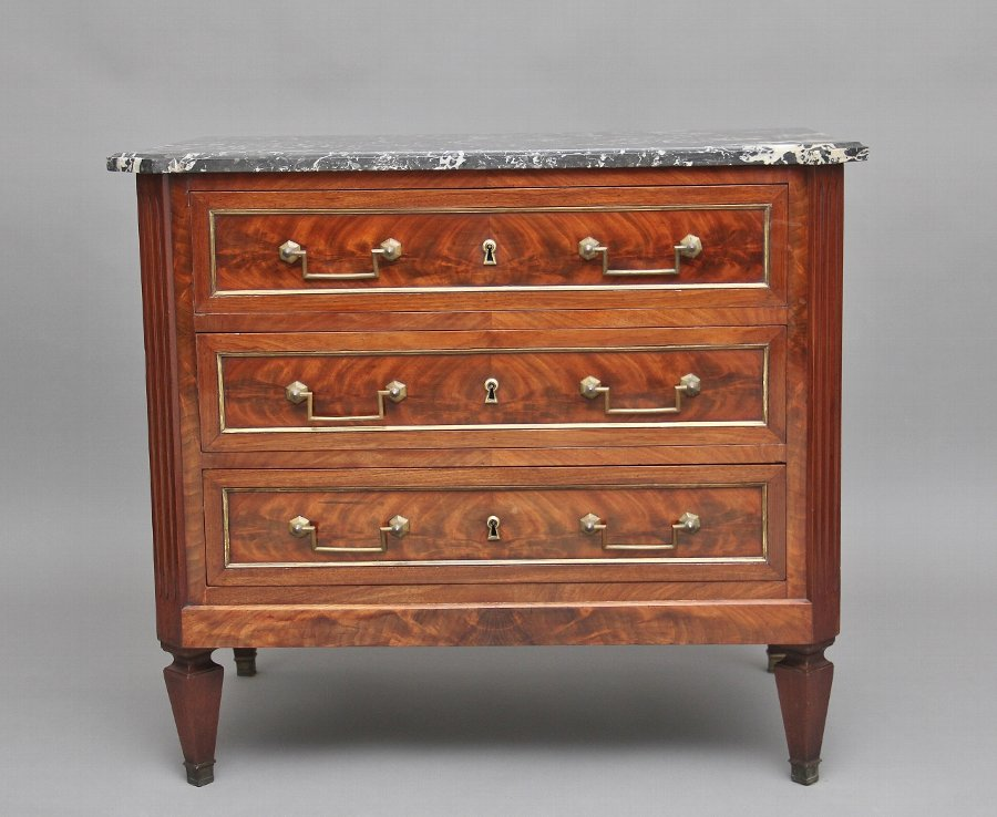 19th Century mahogany and marble top chest