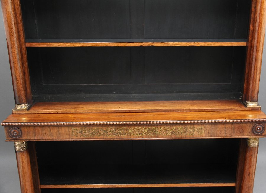 Antique Early 19th Century rosewood and brass inlaid bookcase