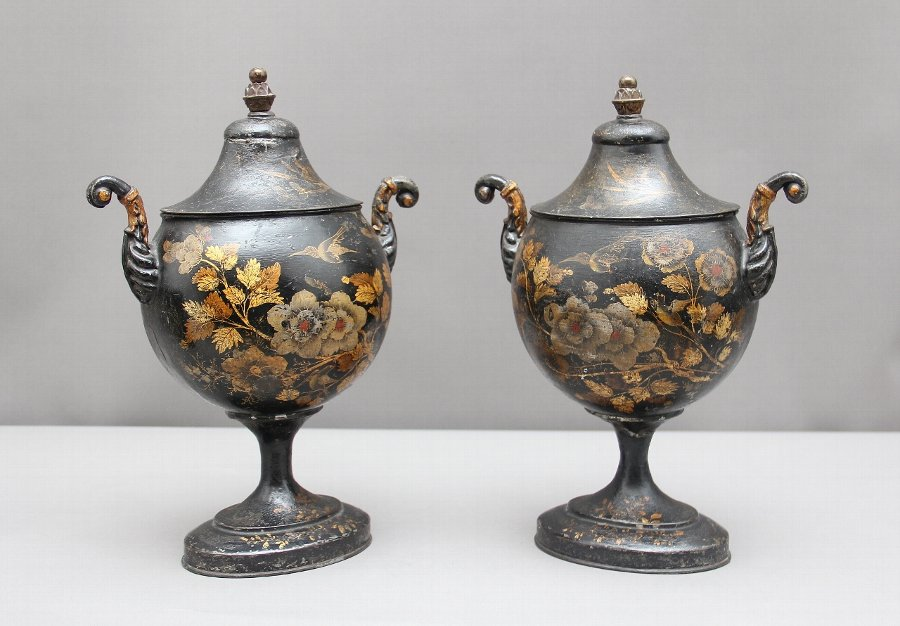 Antique Pair of early 19th Century tole chestnut urns
