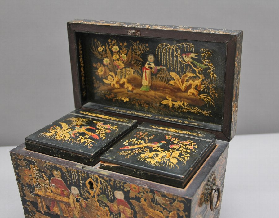 Antique 18th Century chinoiserie tea caddy