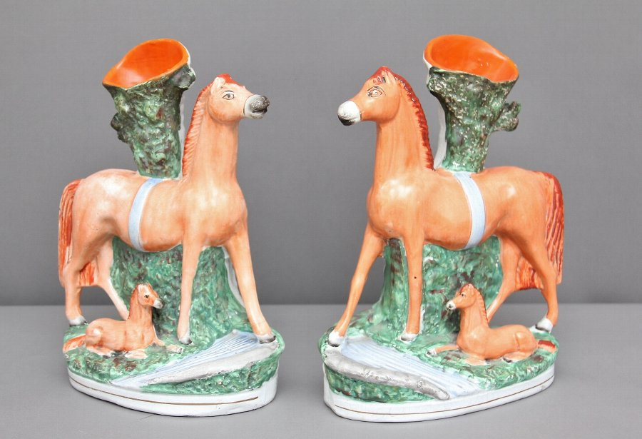 Pair of 19th Century Staffordshire vases