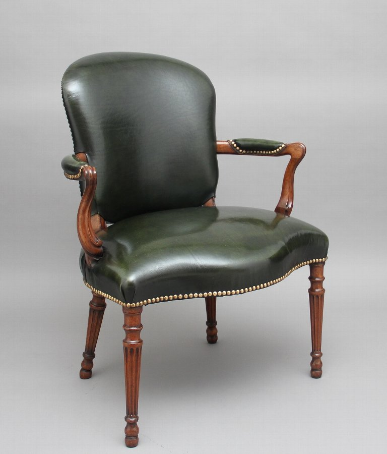 19th Century mahogany open armchair