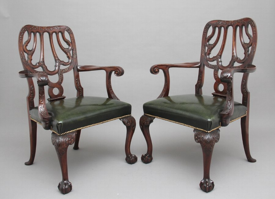 Pair of 19th Century carved mahogany armchairs
