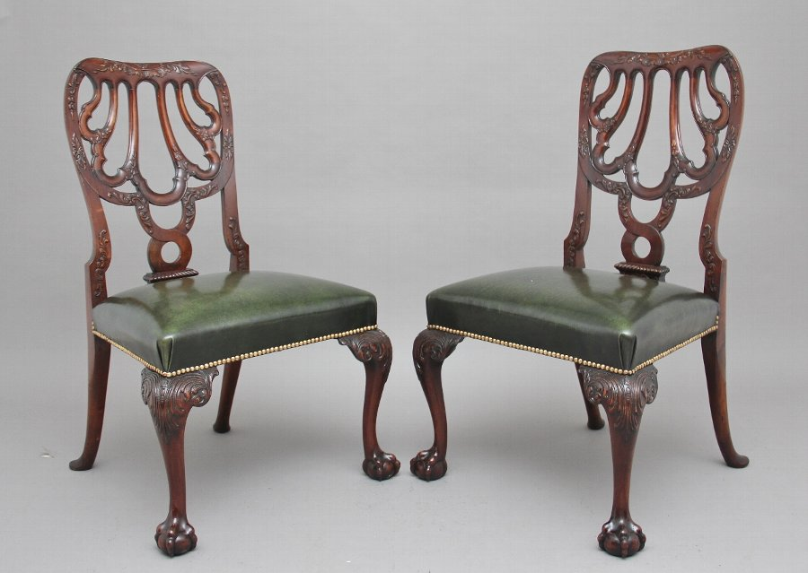 Pair of 19th Century carved mahogany side chairs