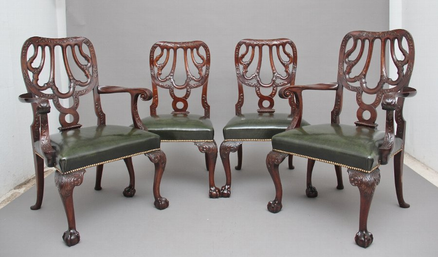 Set of four 19th Century carved mahogany chairs