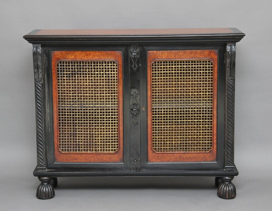 19th Century ebony and amboyna cabinet