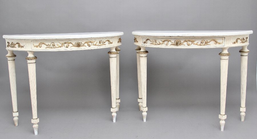 Pair of 19th Century French painted console tables