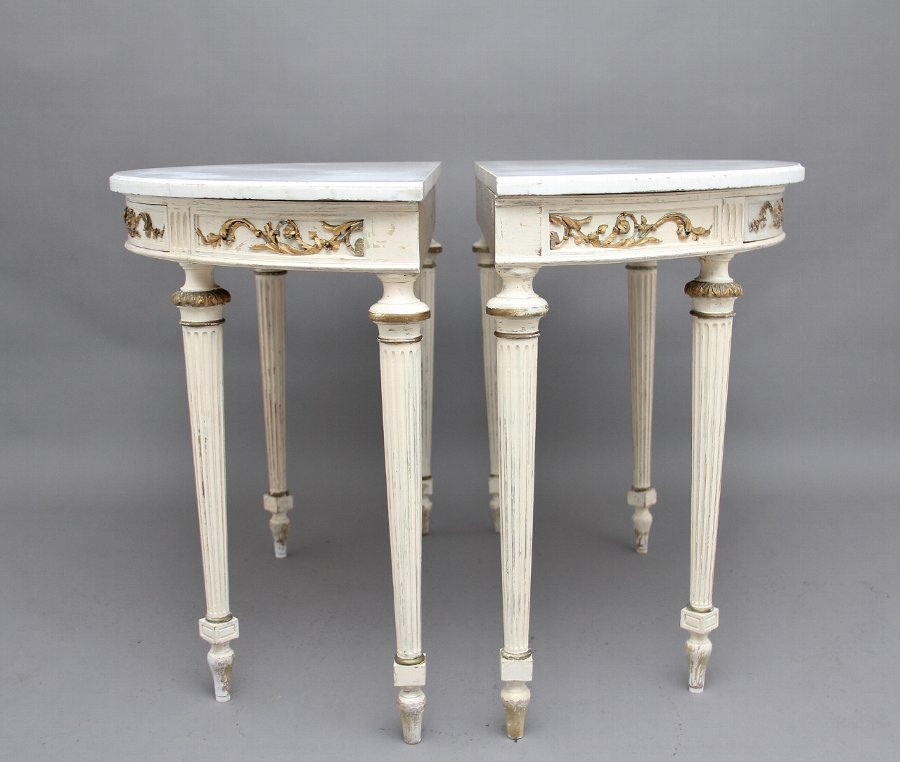 Antique Pair of 19th Century French painted console tables