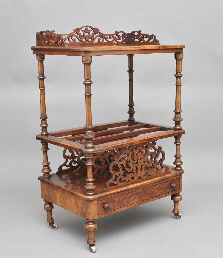 19th Century burr walnut Canterbury