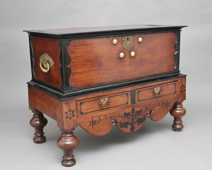 Antique Early 19th Century teak and ebony chest