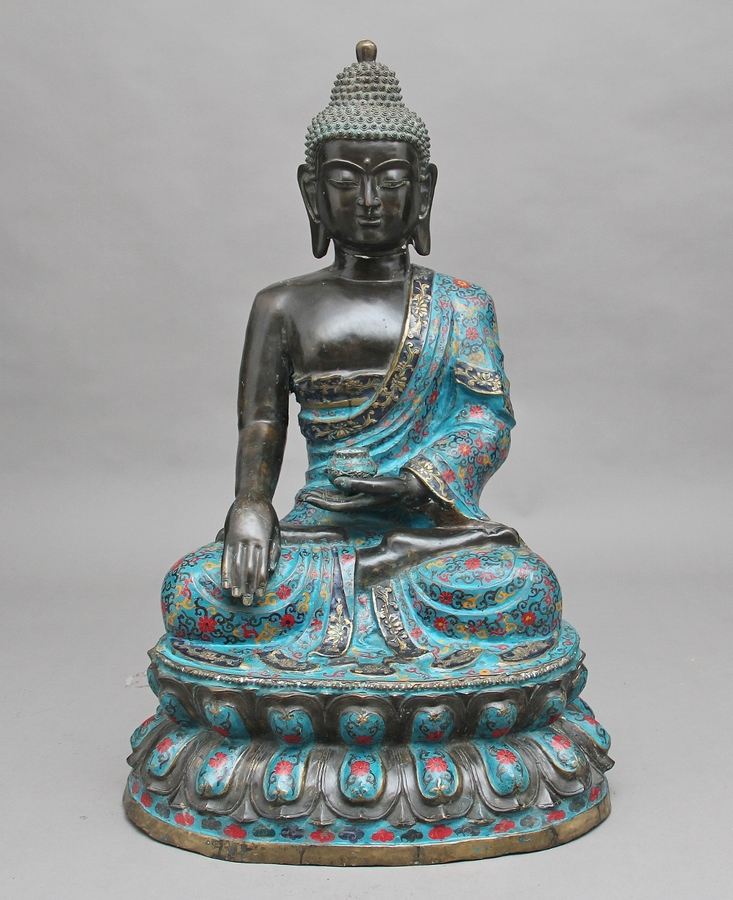 Large early 19th Century bronze and cloisonne Buddha