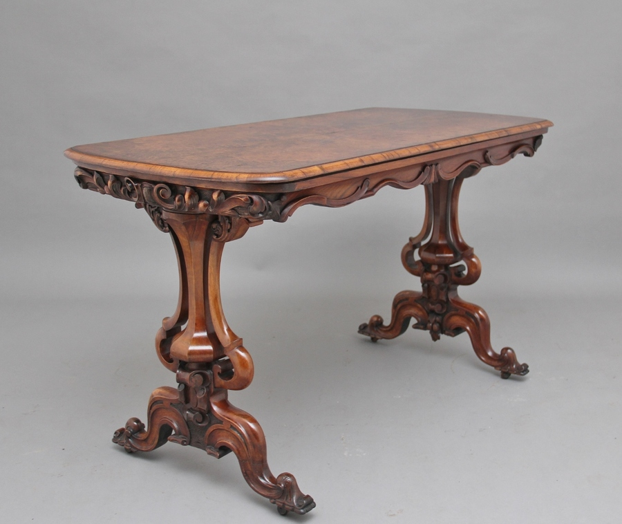 19th Century burr walnut centre table